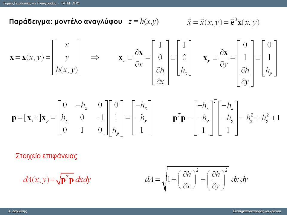 Tομέας Γεωδαισίας και Τοπογραφίας – ΤΑΤΜ - ΑΠΘ A. ΔερμάνηςΣυστήματα αναφοράς και χρόνου A. Δερμάνης Συστήματα αναφοράς και χρόνου Παράδειγμα: μοντέλο