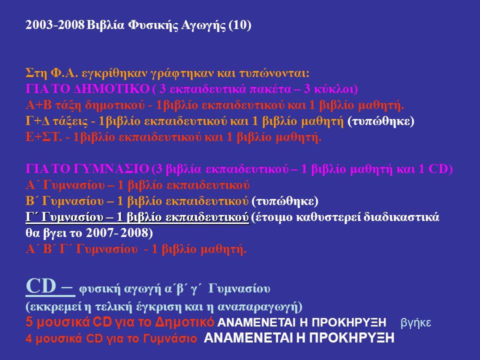 2003-2008 Βιβλία Φυσικής Αγωγής (10) Στη Φ.Α. εγκρίθηκαν γράφτηκαν και τυπώνονται: ΓΙΑ ΤΟ ΔΗΜΟΤΙΚΟ ( 3 εκπαιδευτικά πακέτα – 3 κύκλοι) Α+Β τάξη δημοτι