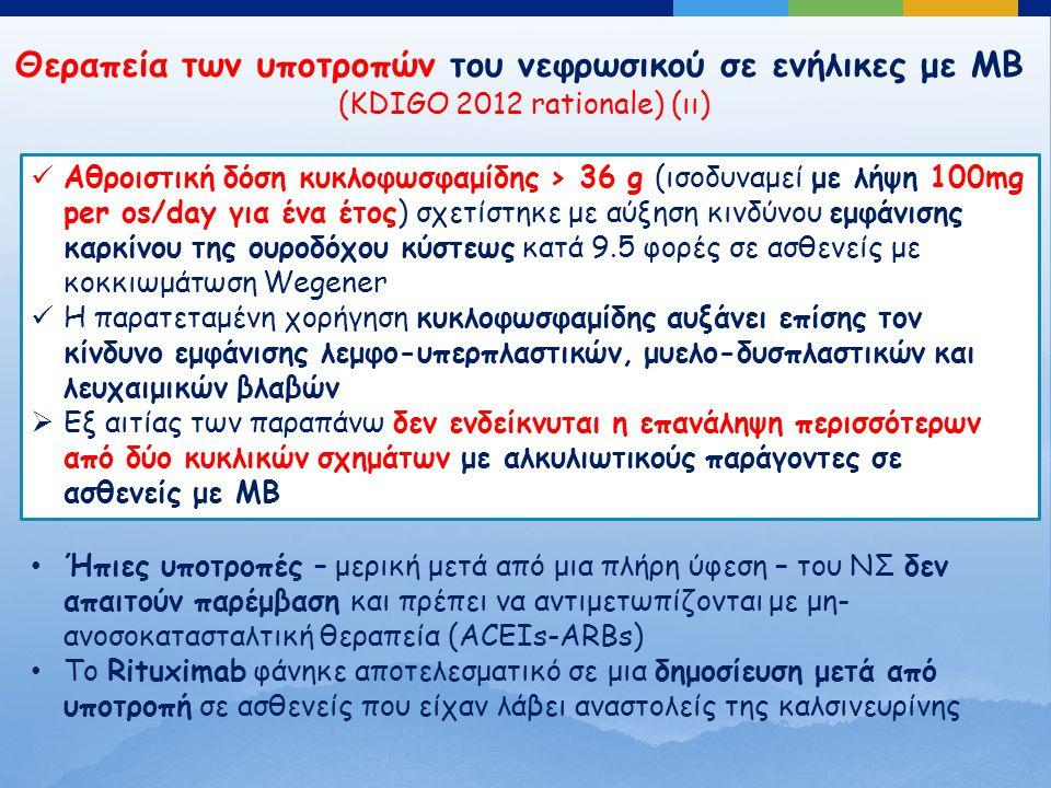 Θεραπεία των υποτροπών του νεφρωσικού σε ενήλικες με ΜΒ (KDIGO 2012 rationale) (ιι) Αθροιστική δόση κυκλοφωσφαμίδης > 36 g (ισοδυναμεί με λήψη 100mg per os/day για ένα έτος) σχετίστηκε με αύξηση κινδύνου εμφάνισης καρκίνου της ουροδόχου κύστεως κατά 9.5 φορές σε ασθενείς με κοκκιωμάτωση Wegener Η παρατεταμένη χορήγηση κυκλοφωσφαμίδης αυξάνει επίσης τον κίνδυνο εμφάνισης λεμφο-υπερπλαστικών, μυελο-δυσπλαστικών και λευχαιμικών βλαβών  Εξ αιτίας των παραπάνω δεν ενδείκνυται η επανάληψη περισσότερων από δύο κυκλικών σχημάτων με αλκυλιωτικούς παράγοντες σε ασθενείς με ΜΒ Ήπιες υποτροπές – μερική μετά από μια πλήρη ύφεση – του ΝΣ δεν απαιτούν παρέμβαση και πρέπει να αντιμετωπίζονται με μη- ανοσοκατασταλτική θεραπεία (ACEIs-ARBs) Το Rituximab φάνηκε αποτελεσματικό σε μια δημοσίευση μετά από υποτροπή σε ασθενείς που είχαν λάβει αναστολείς της καλσινευρίνης