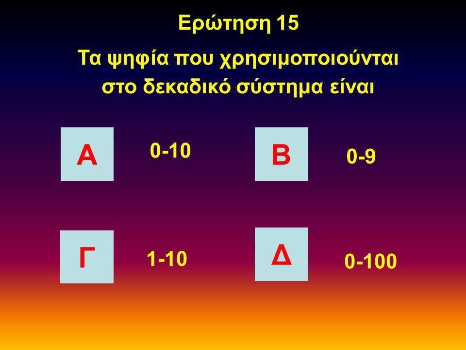 Ερώτηση 14 Σε ποια θέση θα τοποθετούσατε μία μνήμη Α Β Γ Δ