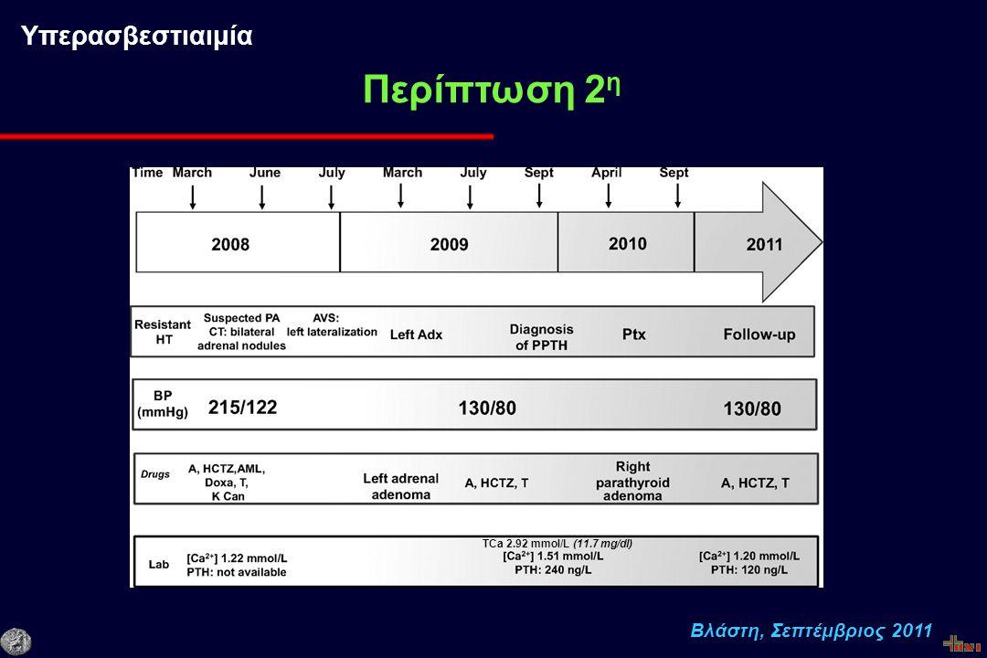 Βλάστη, Σεπτέμβριος 2011 Περίπτωση 2 η Υπερασβεστιαιμία TCa 2.92 mmol/L (11.7 mg/dl)