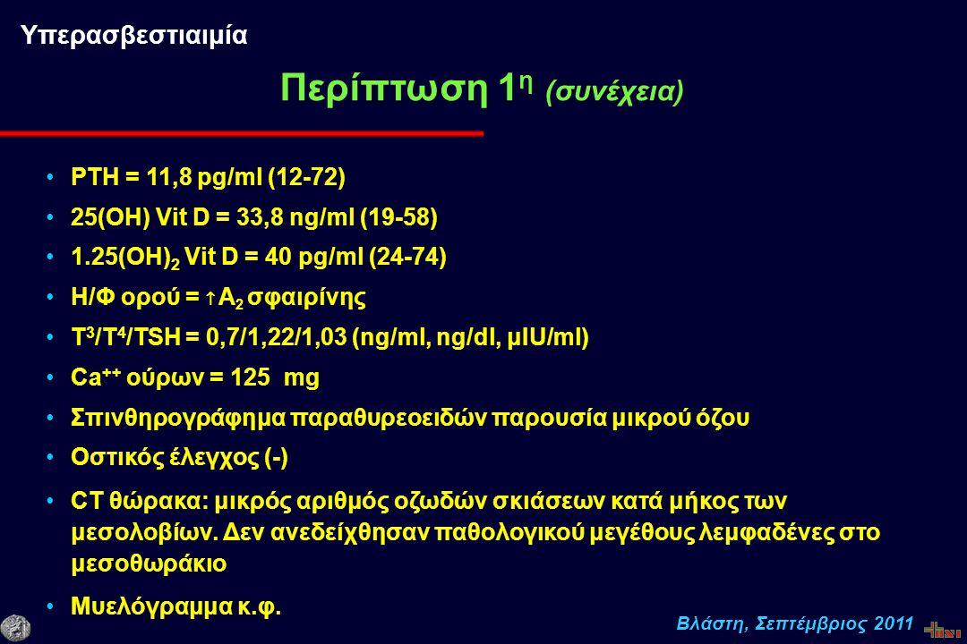Βλάστη, Σεπτέμβριος 2011 PΤΗ = 11,8 pg/ml (12-72) 25(OH) Vit D = 33,8 ng/ml (19-58) 1.25(OH) 2 Vit D = 40 pg/ml (24-74) Η/Φ ορού =  Α 2 σφαιρίνης T 3 /T 4 /TSH = 0,7/1,22/1,03 (ng/ml, ng/dl, μIU/ml) Ca ++ ούρων = 125 mg Σπινθηρογράφημα παραθυρεοειδών παρουσία μικρού όζου Οστικός έλεγχος (-) CT θώρακα: μικρός αριθμός οζωδών σκιάσεων κατά μήκος των μεσολοβίων.