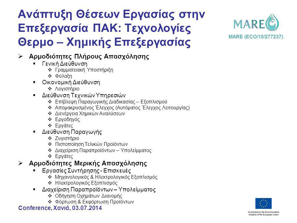 MARE (ECO/10/277237) Conference, Χανιά, 03.07.2014 Ανάπτυξη Θέσεων Εργασίας στην Επεξεργασία ΠΑΚ: Τεχνολογίες Θερμο – Χημικής Επεξεργασίας  Αρμοδιότητες Πλήρους Απασχόλησης  Γενική Διεύθυνση  Γραμματειακή Υποστήριξη  Φύλαξη  Οικονομική Διεύθυνση  Λογιστήριο  Διεύθυνση Τεχνικών Υπηρεσιών  Επίβλεψη Παραγωγικής Διαδικασίας – Εξοπλισμού  Απομακρυσμένος Έλεγχος (Αυτόματος Έλεγχος Λειτουργίας)  Διενέργεια Χημικών Αναλύσεων  Εργοδηγός  Εργάτες  Διεύθυνση Παραγωγής  Ζυγιστήριο  Πιστοποίηση Τελικών Προϊόντων  Διαχείριση Παραπροϊόντων – Υπολείμματος  Εργάτες  Αρμοδιότητες Μερικής Απασχόλησης  Εργασίες Συντήρησης - Επισκευές  Μηχανολογικός & Ηλεκτρολογικός Εξοπλισμός  Ηλεκτρολογικός Εξοπλισμός  Διαχείριση Παραπροϊόντων – Υπολείμματος  Οδήγηση Οχημάτων Διανομής  Φόρτωση & Εκφόρτωση Προϊόντων