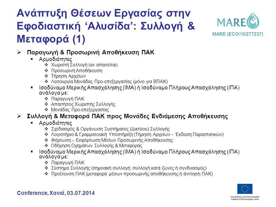 MARE (ECO/10/277237) Conference, Χανιά, 03.07.2014 Ανάπτυξη Θέσεων Εργασίας στην Εφοδιαστική 'Αλυσίδα': Συλλογή & Μεταφορά (1)  Παραγωγή & Προσωρινή Αποθήκευση ΠΑΚ  Αρμοδιότητες  Χωριστή Συλλογή (αν απαιτείται)  Προσωρινή Αποθήκευση  Τήρηση Αρχείων  Λειτουργία Μονάδας Προ-επεξεργασίας (μόνο για ΒΠΑΚ)  Ισοδύναμο Μερικής Απασχόλησης (ΙΜΑ) ή Ισοδύναμο Πλήρους Απασχόλησης (ΙΠΑ) ανάλογα με:  Παραγωγή ΠΑΚ  Απαιτήσεις Χωριστής Συλλογής  Μονάδας Προ-επεξεργασίας  Συλλογή & Μεταφορά ΠΑΚ προς Μονάδες Ενδιάμεσης Αποθήκευσης  Αρμοδιότητες  Σχεδιασμός & Οργάνωση Συστήματος (Δικτύου) Συλλογής  Λογιστήριο & Γραμματειακή Υποστήριξη (Τήρηση Αρχείων – Έκδοση Παραστατικών)  Φόρτωση – Εκφόρτωση Μέσων Προσωρινής Αποθήκευσης  Οδήγηση Οχημάτων Συλλογής & Μεταφοράς  Ισοδύναμο Μερικής Απασχόλησης (ΙΜΑ) ή Ισοδύναμο Πλήρους Απασχόλησης (ΙΠΑ) ανάλογα με:  Παραγωγή ΠΑΚ  Σύστημα Συλλογής (σημειακή συλλογή, συλλογή κατά ζώνες ή συνδυασμός)  Προέλευση ΠΑΚ (μεταφορά μέσων προσωρινής αποθήκευσης ή άντληση ΠΑΚ)