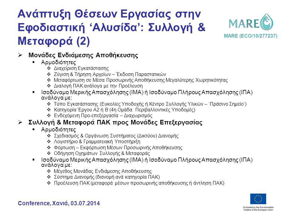 MARE (ECO/10/277237) Conference, Χανιά, 03.07.2014 Ανάπτυξη Θέσεων Εργασίας στην Εφοδιαστική 'Αλυσίδα': Συλλογή & Μεταφορά (2)  Μονάδες Ενδιάμεσης Αποθήκευσης  Αρμοδιότητες  Διαχείριση Εγκατάστασης  Ζύγιση & Τήρηση Αρχείων – Έκδοση Παραστατικών  Μεταφόρτωση σε Μέσα Προσωρινής Αποθήκευσης Μεγαλύτερης Χωρητικότητας  Διαλογή ΠΑΚ ανάλογα με την Προέλευση  Ισοδύναμο Μερικής Απασχόλησης (ΙΜΑ) ή Ισοδύναμο Πλήρους Απασχόλησης (ΙΠΑ) ανάλογα με:  Τύπο Εγκατάστασης (Ευκολίες Υποδοχής ή Κέντρο Συλλογής Υλικών – 'Πράσινο Σημείο')  Κατηγορία Έργου Α2 ή Β (4η Ομάδα: Περιβαλλοντικές Υποδομές)  Ενδεχόμενη Προ-επεξεργασία – Διαχωρισμός  Συλλογή & Μεταφορά ΠΑΚ προς Μονάδες Επεξεργασίας  Αρμοδιότητες  Σχεδιασμός & Οργάνωση Συστήματος (Δικτύου) Διανομής  Λογιστήριο & Γραμματειακή Υποστήριξη  Φόρτωση – Εκφόρτωση Μέσων Προσωρινής Αποθήκευσης  Οδήγηση Οχημάτων Συλλογής & Μεταφοράς  Ισοδύναμο Μερικής Απασχόλησης (ΙΜΑ) ή Ισοδύναμο Πλήρους Απασχόλησης (ΙΠΑ) ανάλογα με:  Μέγεθος Μονάδας Ενδιάμεσης Αποθήκευσης  Σύστημα Διανομής (διανομή ανά κατηγορία ΠΑΚ)  Προέλευση ΠΑΚ (μεταφορά μέσων προσωρινής αποθήκευσης ή άντληση ΠΑΚ)