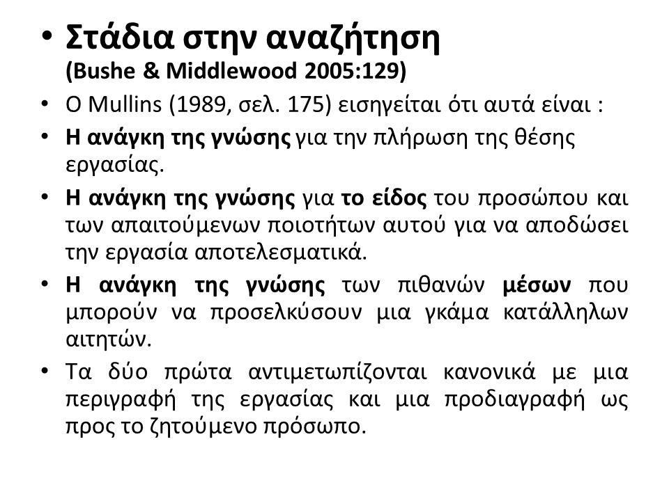 Στάδια στην αναζήτηση (Bushe & Middlewood 2005:129) Ο Mullins (1989, σελ. 175) εισηγείται ότι αυτά είναι : Η ανάγκη της γνώσης για την πλήρωση της θέσ