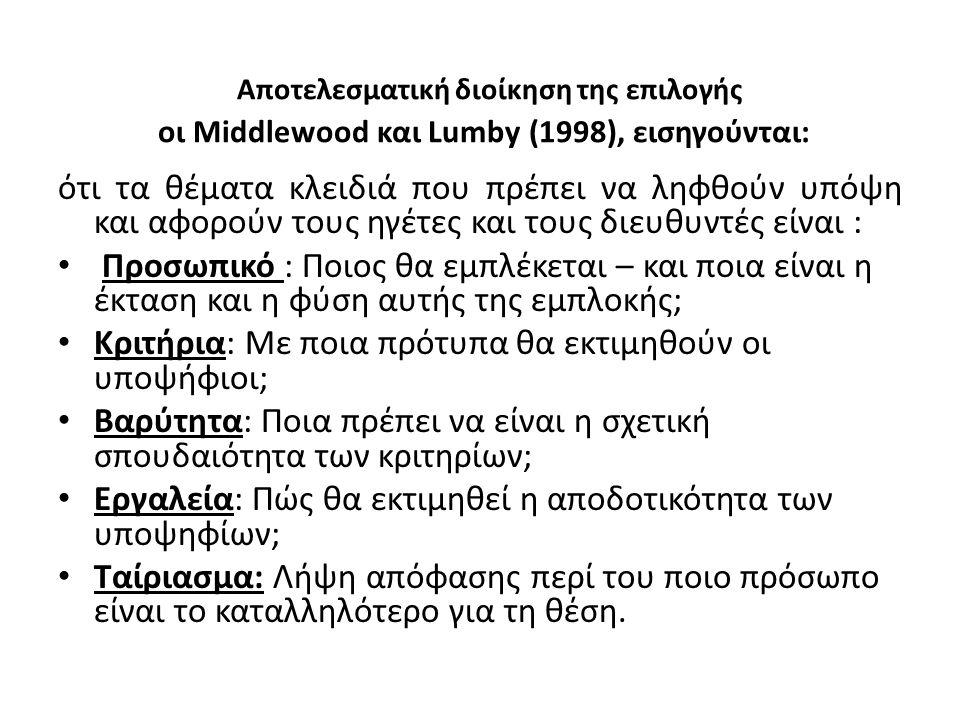 Αποτελεσματική διοίκηση της επιλογής οι Middlewood και Lumby (1998), εισηγούνται: ότι τα θέματα κλειδιά που πρέπει να ληφθούν υπόψη και αφορούν τους η