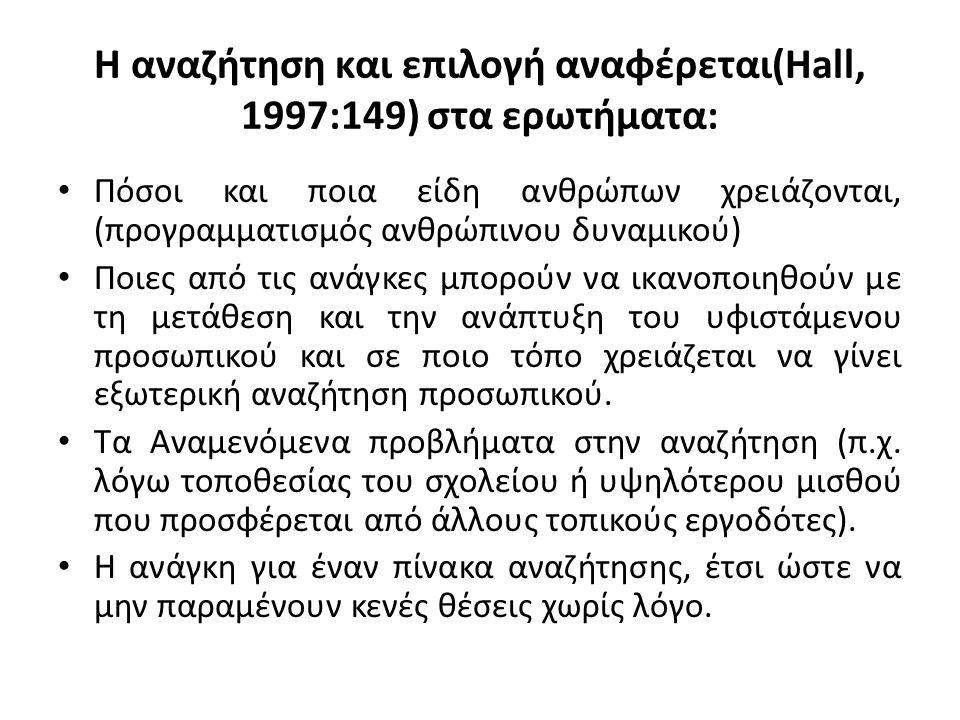 Η αναζήτηση και επιλογή αναφέρεται(Hall, 1997:149) στα ερωτήματα: Πόσοι και ποια είδη ανθρώπων χρειάζονται, (προγραμματισμός ανθρώπινου δυναμικού) Ποι