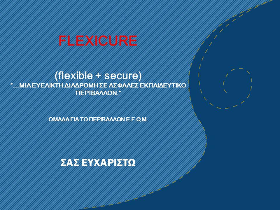 """FLEXICURE (flexible + secure) """"…MIA ΕΥΕΛΙΚΤΗ ΔΙΑΔΡΟΜΗ ΣΕ ΑΣΦΑΛΕΣ ΕΚΠΑΙΔΕΥΤΙΚΟ ΠΕΡΙΒΑΛΛΟΝ."""" ΟΜΑΔΑ ΓΙΑ ΤΟ ΠΕΡΙΒΑΛΛΟΝ E.F.Q.M. ΣΑΣ ΕΥΧΑΡΙΣΤΩ"""