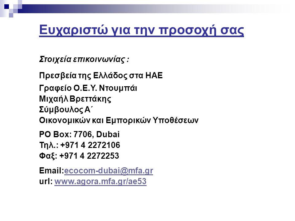 Ευχαριστώ για την προσοχή σας Στοιχεία επικοινωνίας : Πρεσβεία της Ελλάδος στα ΗΑΕ Γραφείο Ο.Ε.Υ.