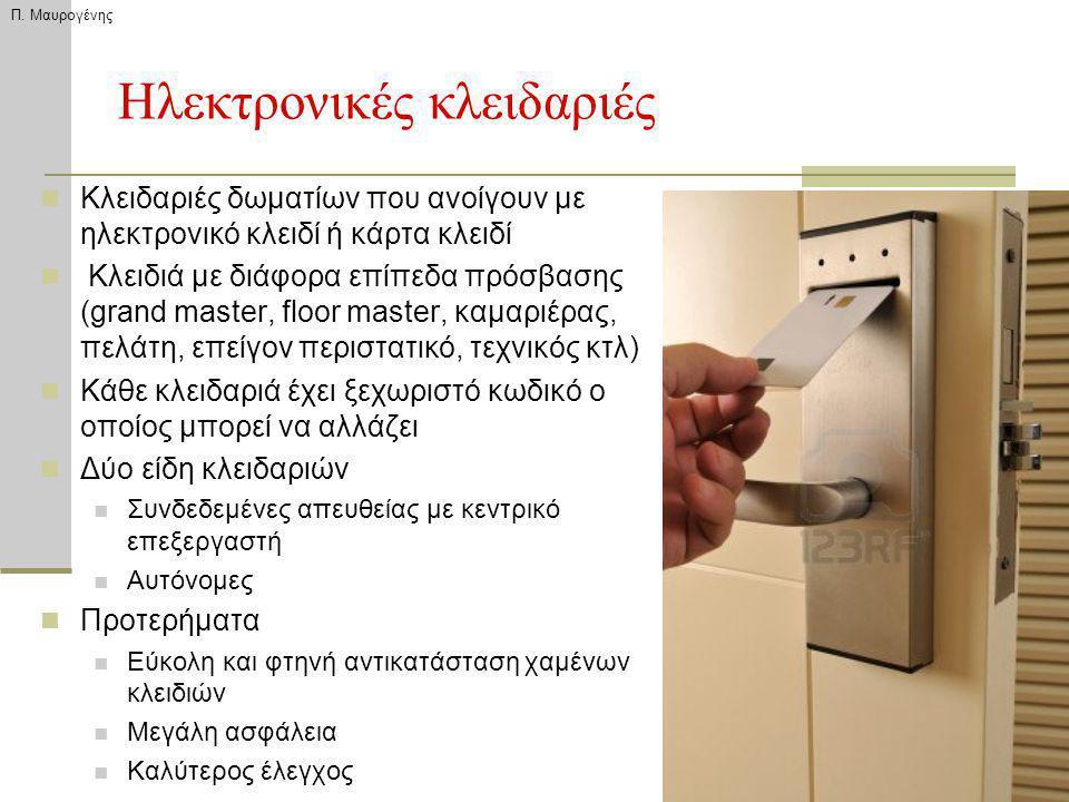 Ηλεκτρονικές κλειδαριές Κλειδαριές δωματίων που ανοίγουν με ηλεκτρονικό κλειδί ή κάρτα κλειδί Κλειδιά με διάφορα επίπεδα πρόσβασης (grand master, floo