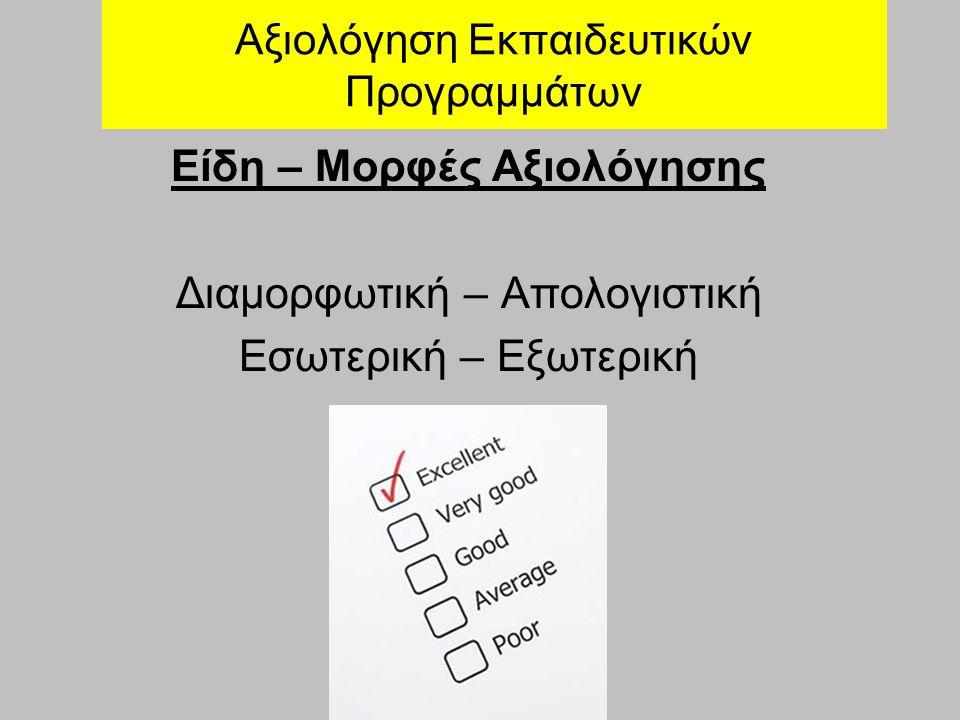Αξιολόγηση Εκπαιδευτικών Προγραμμάτων Είδη – Μορφές Αξιολόγησης Διαμορφωτική – Απολογιστική Εσωτερική – Εξωτερική