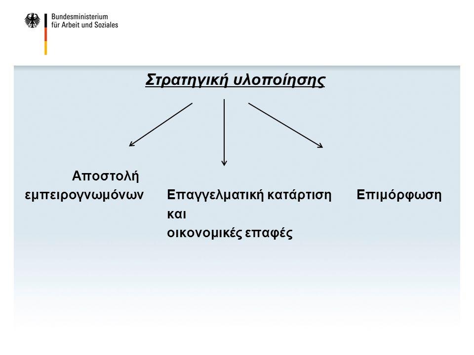 Στρατηγική υλοποίησης Αποστολή εμπειρογνωμόνωνΕπαγγελματική κατάρτισηΕπιμόρφωση και οικονομικές επαφές