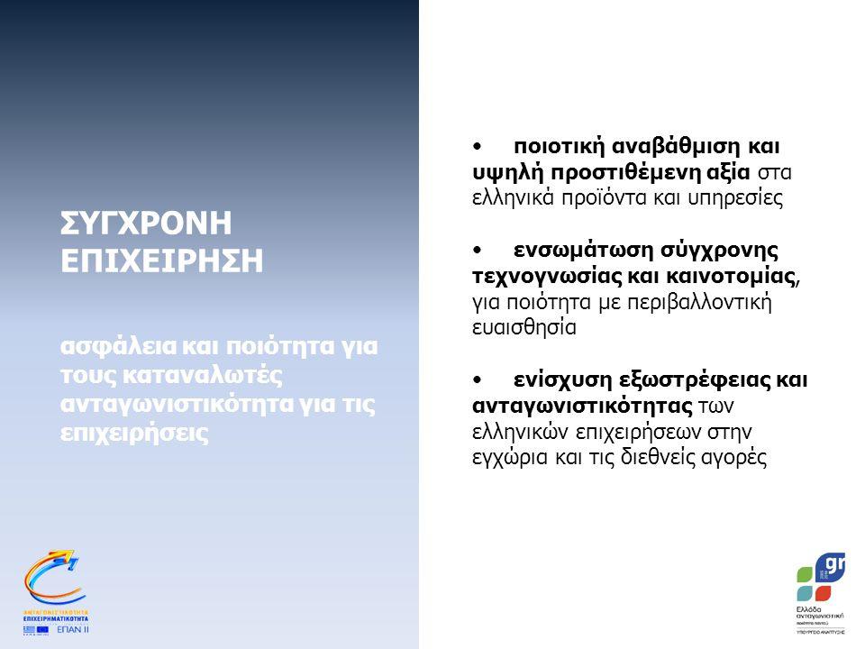 ΣΥΓΧΡΟΝΗ ΕΠΙΧΕΙΡΗΣΗ ασφάλεια και ποιότητα για τους καταναλωτές ανταγωνιστικότητα για τις επιχειρήσεις Πιστοποίηση της επιχείρησης με βάση τις απαιτήσεις σύγχρονων πανευρωπαϊκών προτύπων Βελτίωση ήδη εγκατεστημένων συστημάτων διαχείρισης Ενίσχυση των υποδομών, προκειμένου οι επιχειρήσεις να ικανοποιούν τις απαιτήσεις για την πιστοποίησή τους Πιστοποίηση προϊόντων και υπηρεσιών ή δοκιμές προϊόντων σύμφωνα με αναγνωρισμένα πρότυπα