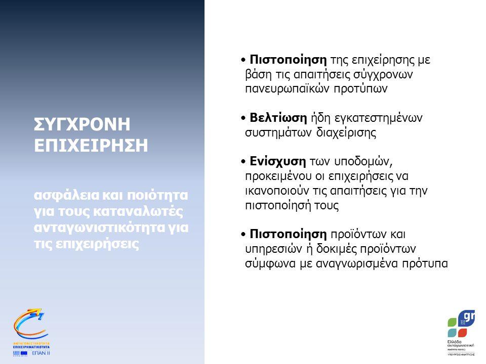 ΣΥΓΧΡΟΝΗ ΕΠΙΧΕΙΡΗΣΗ ασφάλεια και ποιότητα για τους καταναλωτές ανταγωνιστικότητα για τις επιχειρήσεις Προϋπολογισμός: €80εκ.