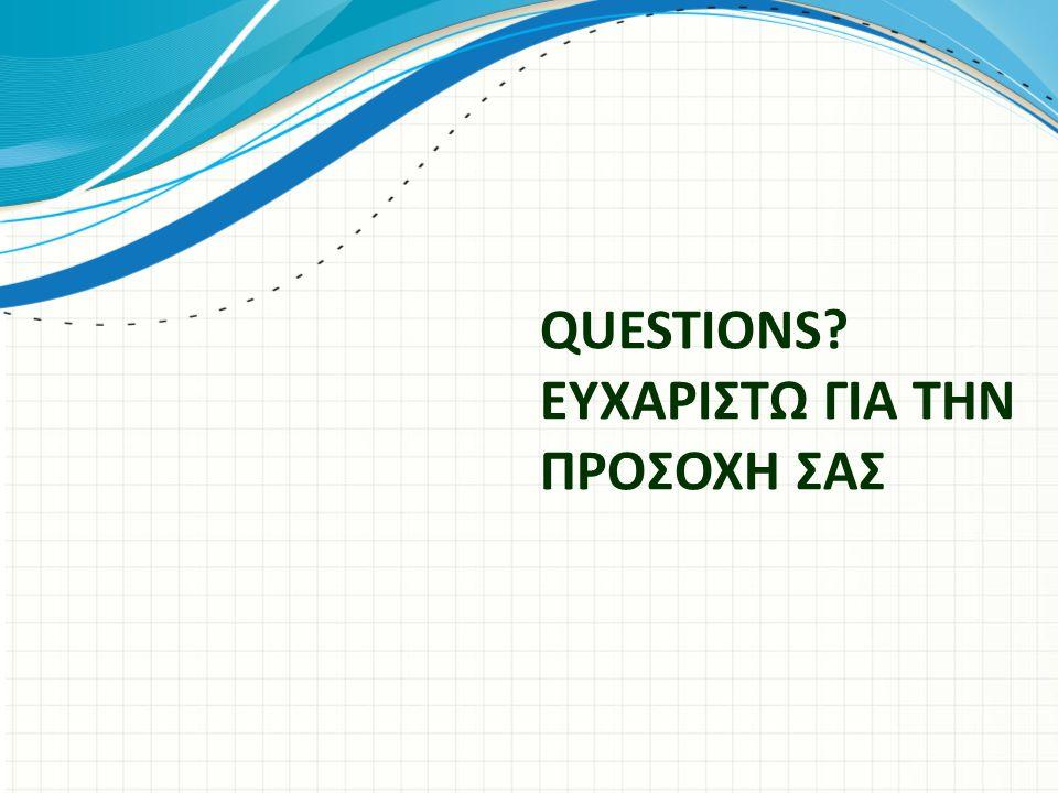 QUESTIONS? ΕΥΧΑΡΙΣΤΩ ΓΙΑ ΤΗΝ ΠΡΟΣΟΧΗ ΣΑΣ