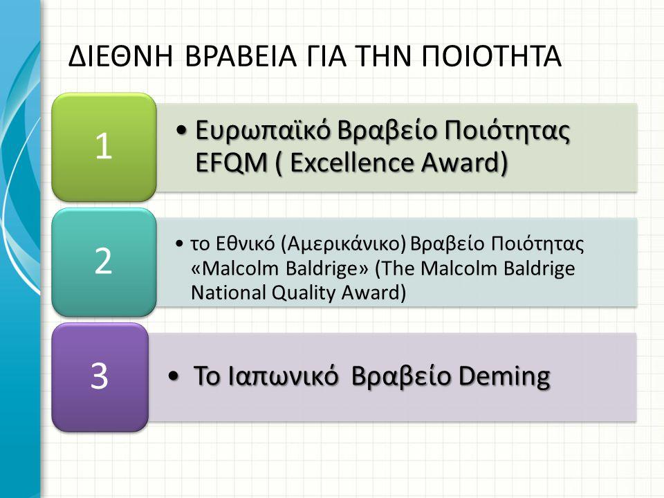 Ευρωπαϊκό Βραβείο Ποιότητας EFQM ( Excellence Award)Ευρωπαϊκό Βραβείο Ποιότητας EFQM ( Excellence Award) 1 το Εθνικό (Αμερικάνικο) Βραβείο Ποιότητ