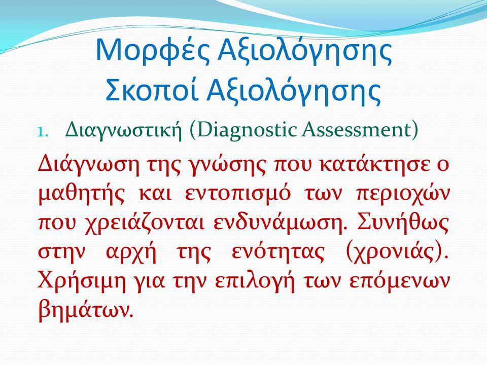 Μορφές Αξιολόγησης Σκοποί Αξιολόγησης 1. Διαγνωστική (Diagnostic Assessment) Διάγνωση της γνώσης που κατάκτησε ο μαθητής και εντοπισμό των περιοχών πο