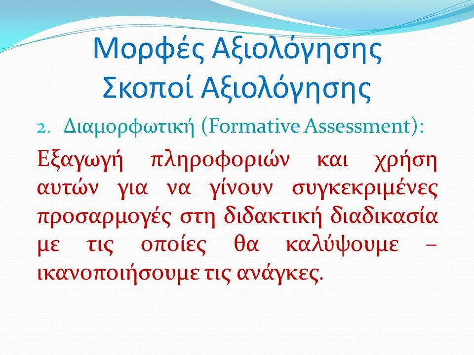 Μορφές Αξιολόγησης Σκοποί Αξιολόγησης 2. Διαμορφωτική (Formative Assessment): Εξαγωγή πληροφοριών και χρήση αυτών για να γίνουν συγκεκριμένες προσαρμο