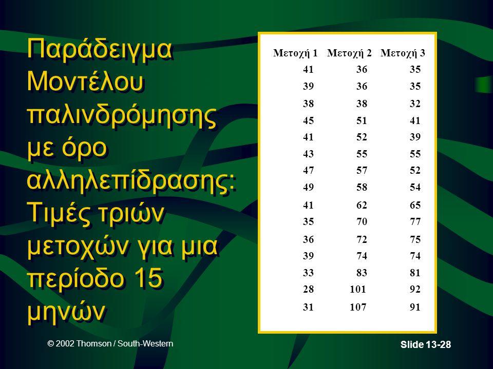 © 2002 Thomson / South-Western Slide 13-28 Παράδειγμα Μοντέλου παλινδρόμησης με όρο αλληλεπίδρασης: Τιμές τριών μετοχών για μια περίοδο 15 μηνών Μετοχή 1Μετοχή 2Μετοχή 3 413635 393635 38 32 455141 5239 4355 475752 495854 416265 357077 367275 3974 338381 2810192 3110791