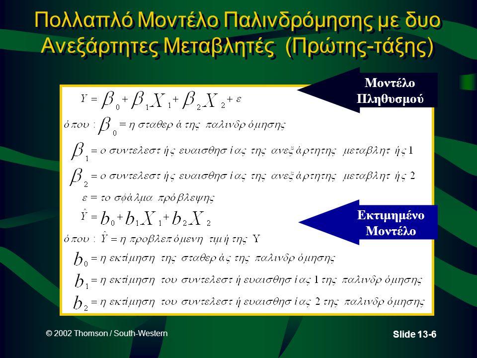 © 2002 Thomson / South-Western Slide 13-27 Χρήση του δευτεροβάθμιου μοντέλου μέσω του Excel για την πρόβλεψη των πωλήσεων Regression Statistics Multiple R0.986 R Square0.973 Adjusted R Square0.967 Standard Error24.593 Observations13 CoefficientsStandard Errort StatP-value Intercept 18.06724.673 0.730.481 MfgrRp-15.723 9.5450 - 1.65 0.131 MfgrRpSq4.7500.776 6.12 0.000 ANOVA dfSSMSFSignificance F Regression2215069107534177.790.000 Residual10 6048 605 Total12221117