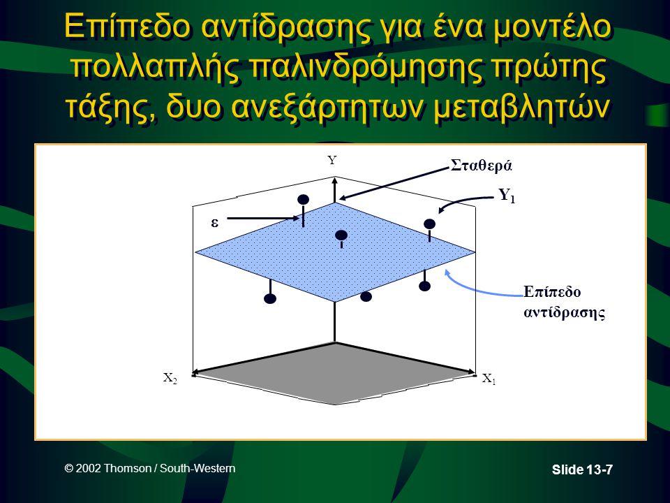 © 2002 Thomson / South-Western Slide 13-18 Ψευδομεταβλητές (Δηκτικές μεταβλητές) Ποιοτικές (Δηκτικές ή ψευδομεταβλητές) Ο αριθμός των ψευδομεταβλητών που απαιτούνται για την ενσωμάτωση μιας ποιοτικής μεταβλητής στην ανάλυση είναι ο αριθμός των κατηγοριών μειωμένος κατά μια.