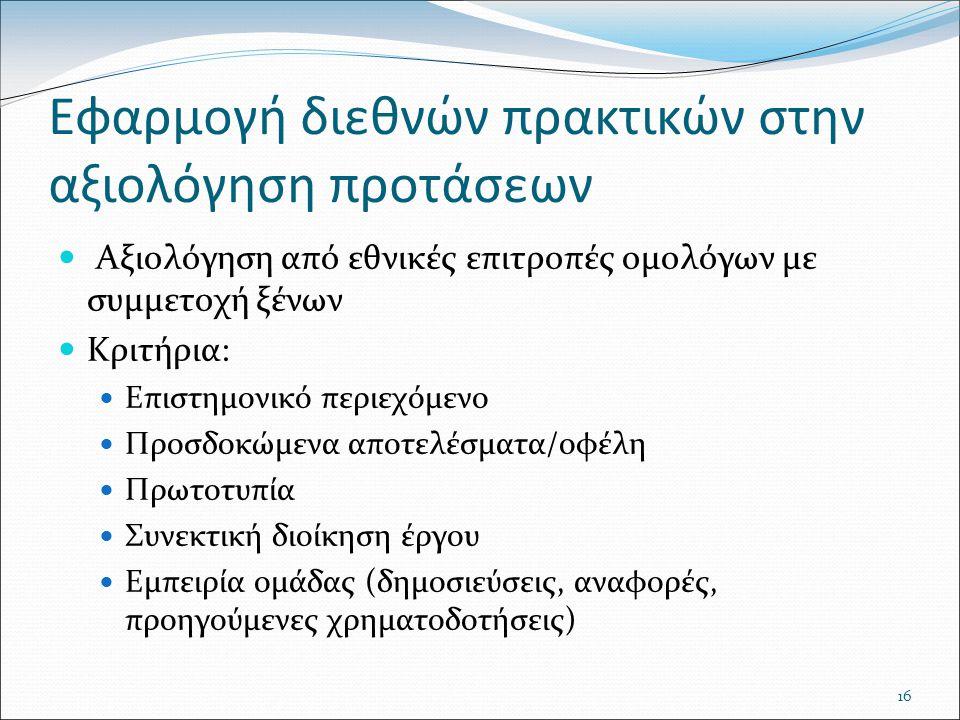 16 Εφαρμογή διεθνών πρακτικών στην αξιολόγηση προτάσεων Αξιολόγηση από εθνικές επιτροπές ομολόγων με συμμετοχή ξένων Κριτήρια: Επιστημονικό περιεχόμενο Προσδοκώμενα αποτελέσματα/οφέλη Πρωτοτυπία Συνεκτική διοίκηση έργου Εμπειρία ομάδας (δημοσιεύσεις, αναφορές, προηγούμενες χρηματοδοτήσεις)