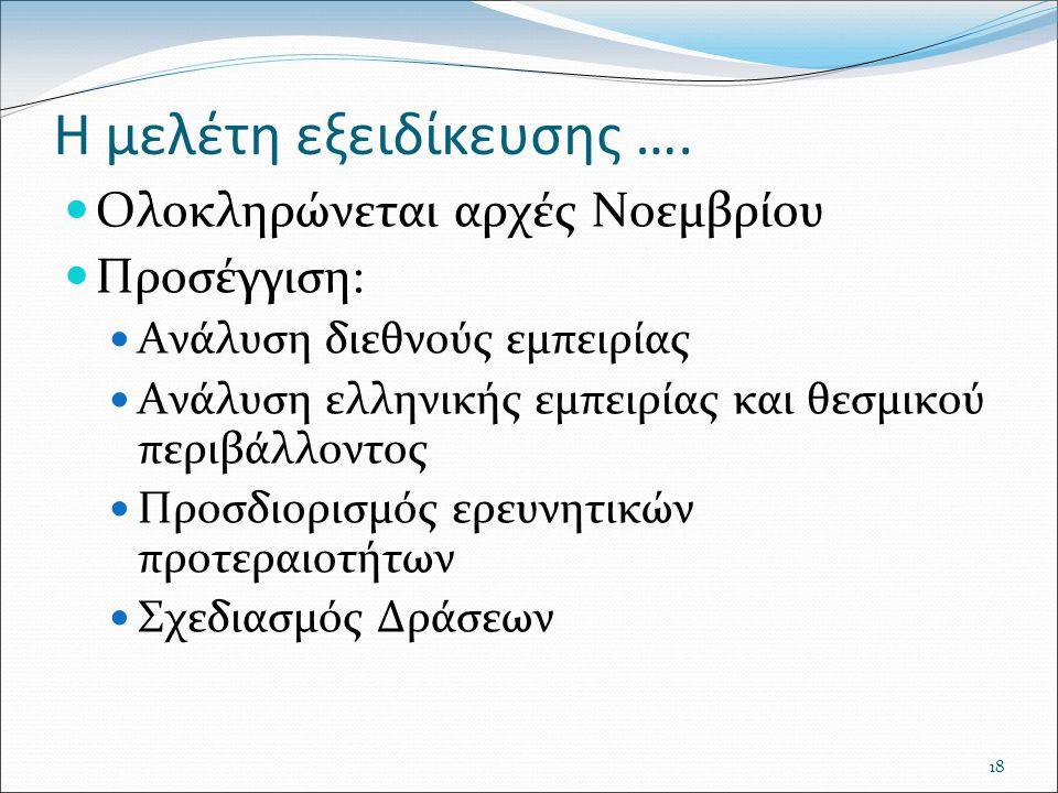 18 Η μελέτη εξειδίκευσης …. Ολοκληρώνεται αρχές Νοεμβρίου Προσέγγιση: Ανάλυση διεθνούς εμπειρίας Ανάλυση ελληνικής εμπειρίας και θεσμικού περιβάλλοντο