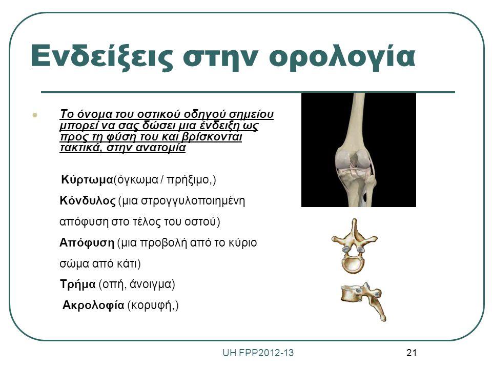 Ενδείξεις στην ορολογία Το όνομα του οστικού οδηγού σημείου μπορεί να σας δώσει μια ένδειξη ως προς τη φύση του και βρίσκονται τακτικά, στην ανατομία