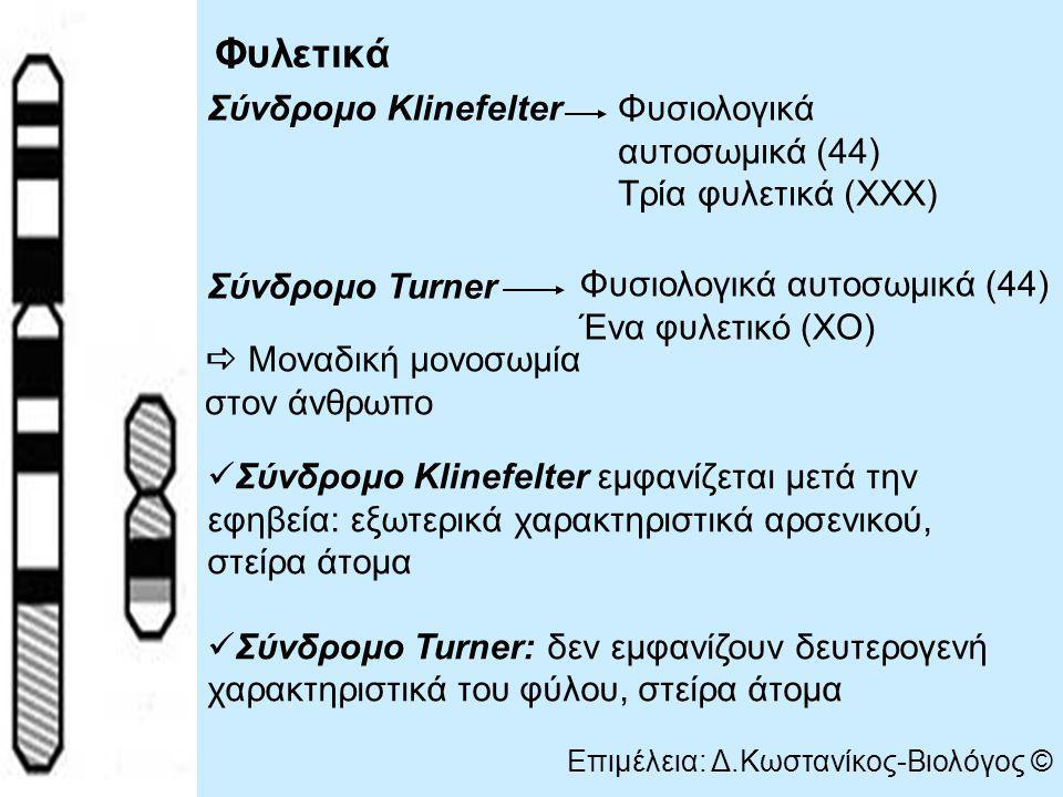 Φυλετικά Σύνδρομο Klinefelter Σύνδρομο Turner Φυσιολογικά αυτοσωμικά (44) Τρία φυλετικά (ΧΧΧ) Φυσιολογικά αυτοσωμικά (44) Ένα φυλετικό (ΧΟ)  Μοναδική