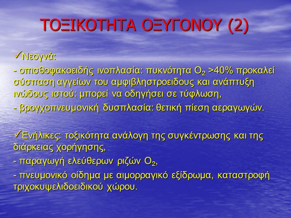 ΤΟΞΙΚΟΤΗΤΑ ΟΞΥΓΟΝΟΥ (2) Νεογνά: Νεογνά: - οπισθοφακοειδής ινοπλασία: πυκνότητα Ο 2 >40% προκαλεί σύσπαση αγγείων του αμφιβληστροειδους και ανάπτυξη ιν