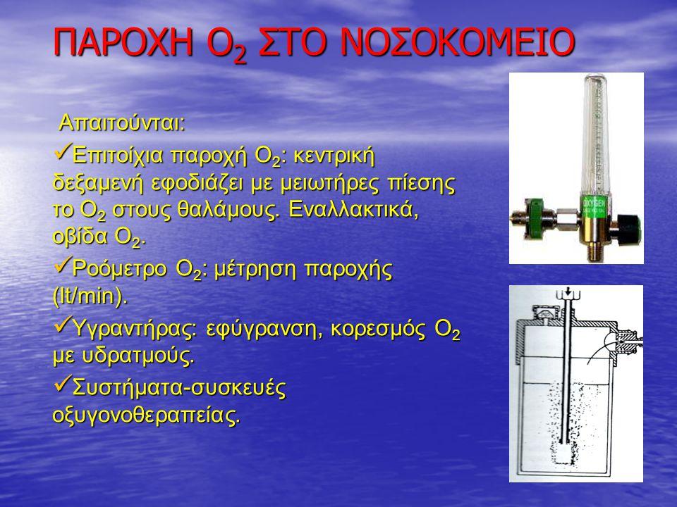 Απαιτούνται: Απαιτούνται: Επιτοίχια παροχή Ο 2 : κεντρική δεξαμενή εφοδιάζει με μειωτήρες πίεσης το Ο 2 στους θαλάμους. Εναλλακτικά, οβίδα Ο 2. Επιτοί