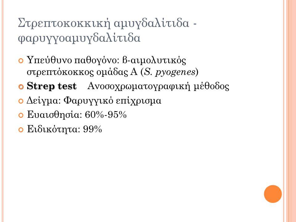 Στρεπτοκοκκική αμυγδαλίτιδα - φαρυγγοαμυγδαλίτιδα Υπεύθυνο παθογόνο: β-αιμολυτικός στρεπτόκοκκος ομάδας Α ( S.