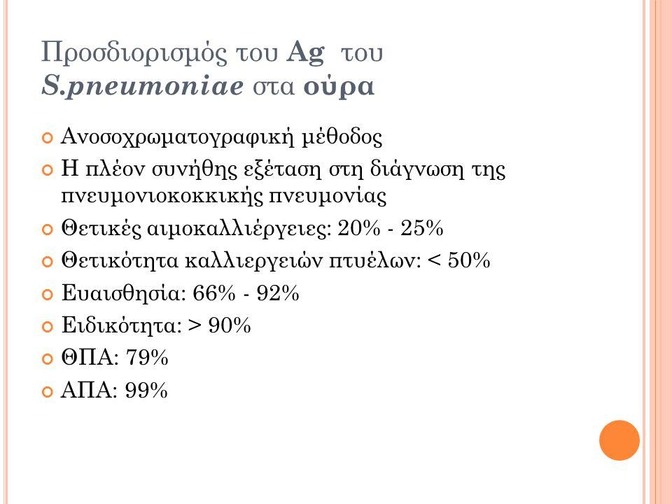 Προσδιορισμός του Ag του S.pneumoniae στα ούρα Ανοσοχρωματογραφική μέθοδος Η πλέον συνήθης εξέταση στη διάγνωση της πνευμονιοκοκκικής πνευμονίας Θετικές αιμοκαλλιέργειες: 20% - 25% Θετικότητα καλλιεργειών πτυέλων: < 50% Ευαισθησία: 66% - 92% Ειδικότητα: > 90% ΘΠΑ: 79% ΑΠΑ: 99%