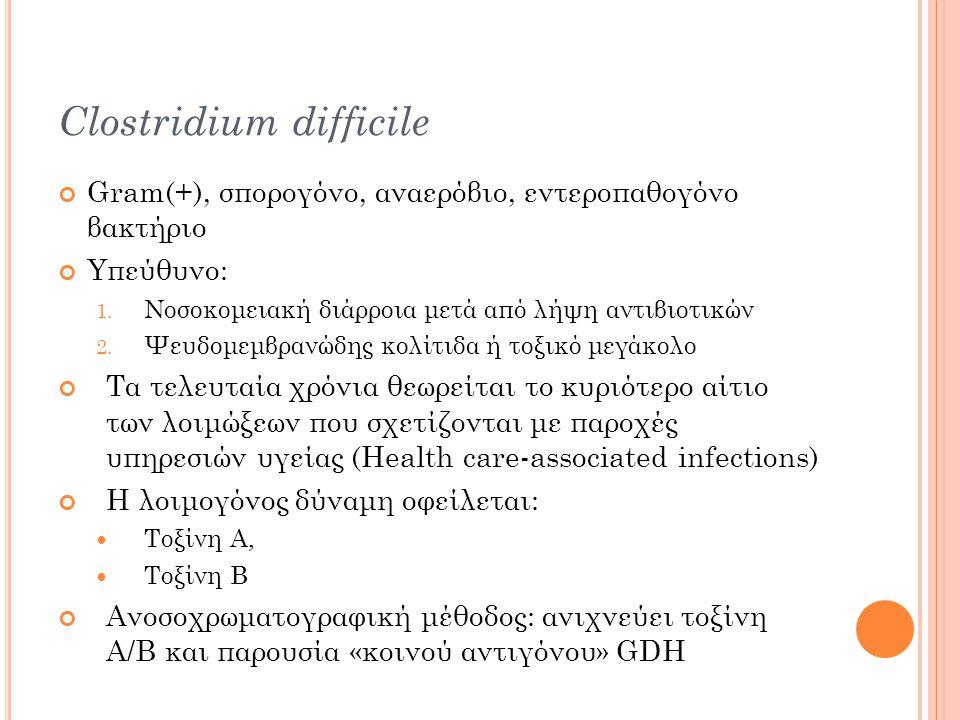 Clostridium difficile Gram(+), σπορογόνο, αναερόβιο, εντεροπαθογόνο βακτήριο Υπεύθυνο: 1.