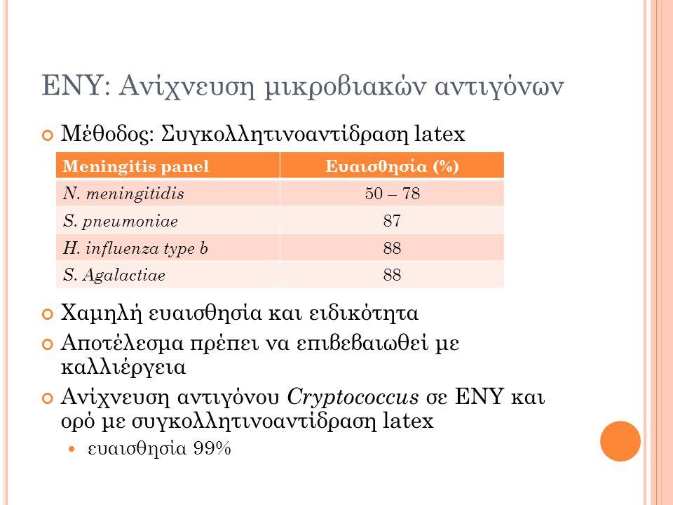 ΕΝΥ: Ανίχνευση μικροβιακών αντιγόνων Μέθοδος: Συγκολλητινοαντίδραση latex Χαμηλή ευαισθησία και ειδικότητα Αποτέλεσμα πρέπει να επιβεβαιωθεί με καλλιέργεια Ανίχνευση αντιγόνου Cryptococcus σε ΕΝΥ και ορό με συγκολλητινοαντίδραση latex ευαισθησία 99% Meningitis panelΕυαισθησία (%) N.