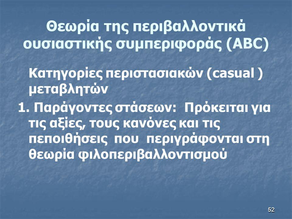 52 Θεωρία της περιβαλλοντικά ουσιαστικής συμπεριφοράς (ABC) Κατηγορίες περιστασιακών (casual ) μεταβλητών 1. Παράγοντες στάσεων: Πρόκειται για τις αξί