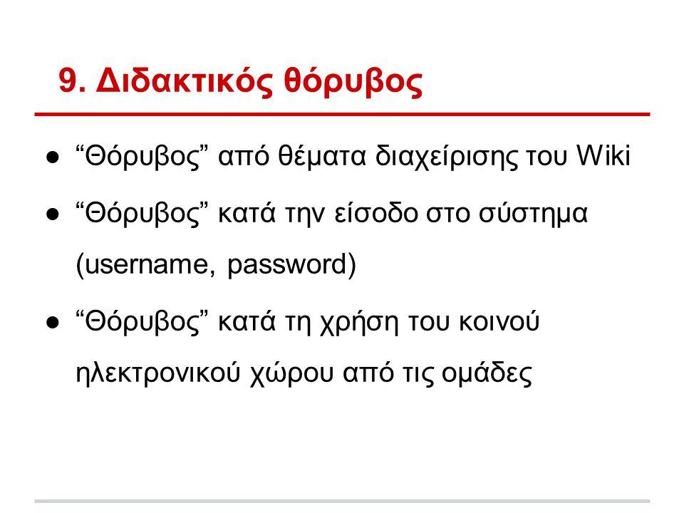"""9. Διδακτικός θόρυβος ●""""Θόρυβος"""" από θέματα διαχείρισης του Wiki ●""""Θόρυβος"""" κατά την είσοδο στο σύστημα (username, password) ●""""Θόρυβος"""" κατά τη χρήση"""