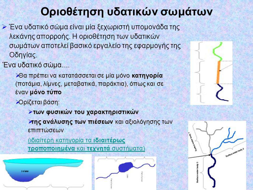 Οριοθέτηση υδατικών σωμάτων  Ένα υδατικό σώμα είναι μία ξεχωριστή υπομονάδα της λεκάνης απορροής. Η οριοθέτηση των υδατικών σωμάτων αποτελεί βασικό ε