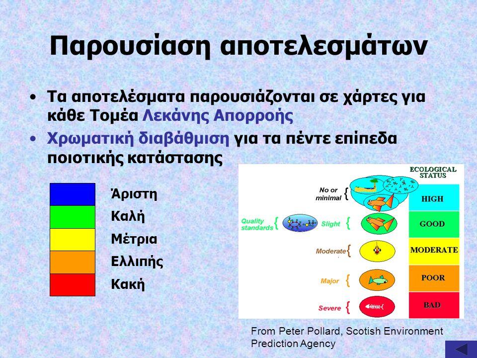Παρουσίαση αποτελεσμάτων Τα αποτελέσματα παρουσιάζονται σε χάρτες για κάθε Τομέα Λεκάνης Απορροής Χρωματική διαβάθμιση για τα πέντε επίπεδα ποιοτικής