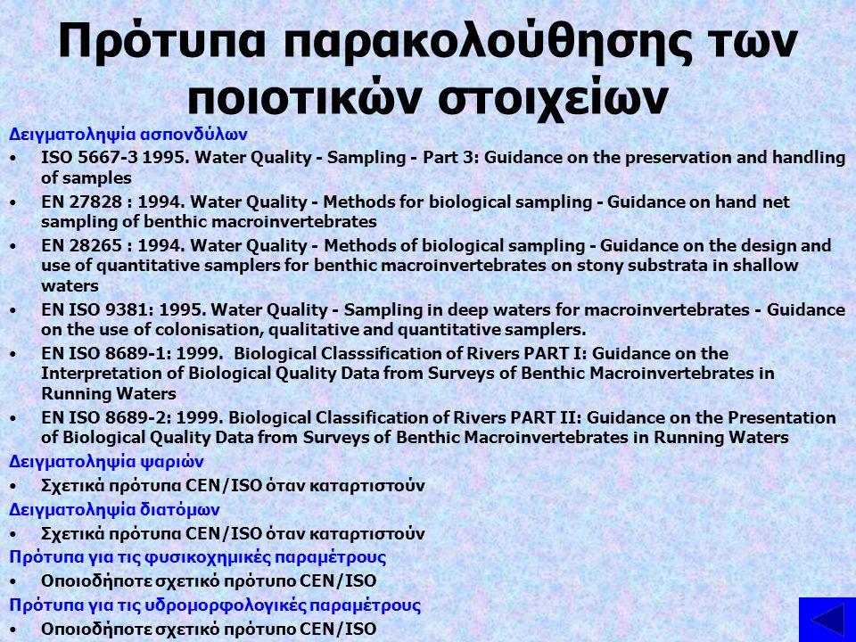 Πρότυπα παρακολούθησης των ποιοτικών στοιχείων Δειγματοληψία ασπονδύλων ISO 5667-3 1995. Water Quality - Sampling - Part 3: Guidance on the preservati