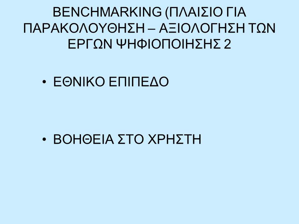 BENCHMARKING (ΠΛΑΙΣΙΟ ΓΙΑ ΠΑΡΑΚΟΛΟΥΘΗΣΗ – ΑΞΙΟΛΟΓΗΣΗ ΤΩΝ ΕΡΓΩΝ ΨΗΦΙΟΠΟΙΗΣΗΣ 2 ΕΘΝΙΚΟ ΕΠΙΠΕΔΟ ΒΟΗΘΕΙΑ ΣΤΟ ΧΡΗΣΤΗ
