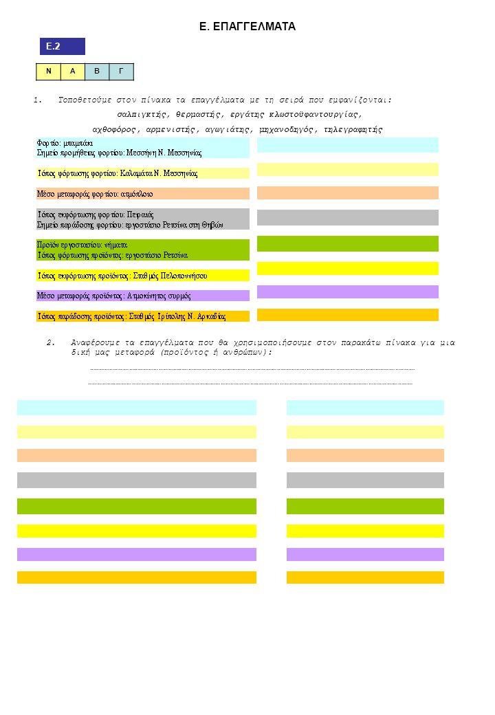 Ε. ΕΠΑΓΓΕΛΜΑΤΑ Ε.2 ΝΑΒΓ 1.Τοποθετούμε στον πίνακα τα επαγγέλματα με τη σειρά που εμφανίζονται: σαλπιγκτής, θερμαστής, εργάτης κλωστοϋφαντουργίας, αχθο