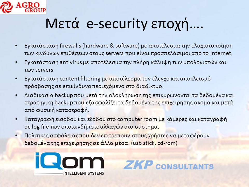 Μετά e-security εποχή…. Εγκατάσταση firewalls (hardware & software) με αποτέλεσμα την ελαχιστοποίηση των κινδύνων επιθέσεων στους servers που είναι πρ