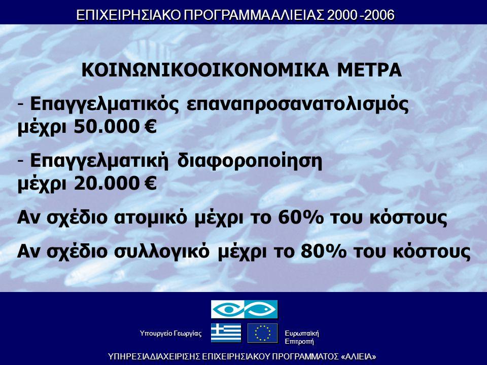 ΕΠΙΧΕΙΡΗΣΙΑΚΟ ΠΡΟΓΡΑΜΜΑ ΑΛΙΕΙΑΣ 2000-2006 ΕΠΙΧΕΙΡΗΣΙΑΚΟ ΠΡΟΓΡΑΜΜΑ ΑΛΙΕΙΑΣ 2000-2006 YΠHPEΣIA ΔIAXEIPIΣHΣ EΠIXEIPHΣIAKOY ΠPOΓPAMMATOΣ «AΛIEIA» YπουργείοΓεωργίας YπουργείοΓεωργίας Eυρωπαϊκή Eπιτροπή Eυρωπαϊκή Eπιτροπή ΚΟΙΝΩΝΙΚΟΟΙΚΟΝΟΜΙΚΑ ΜΕΤΡΑ - Επαγγελματικός επαναπροσανατολισμός μέχρι 50.000 € - Επαγγελματική διαφοροποίηση μέχρι 20.000 € Αν σχέδιο ατομικό μέχρι το 60% του κόστους Αν σχέδιο συλλογικό μέχρι το 80% του κόστους