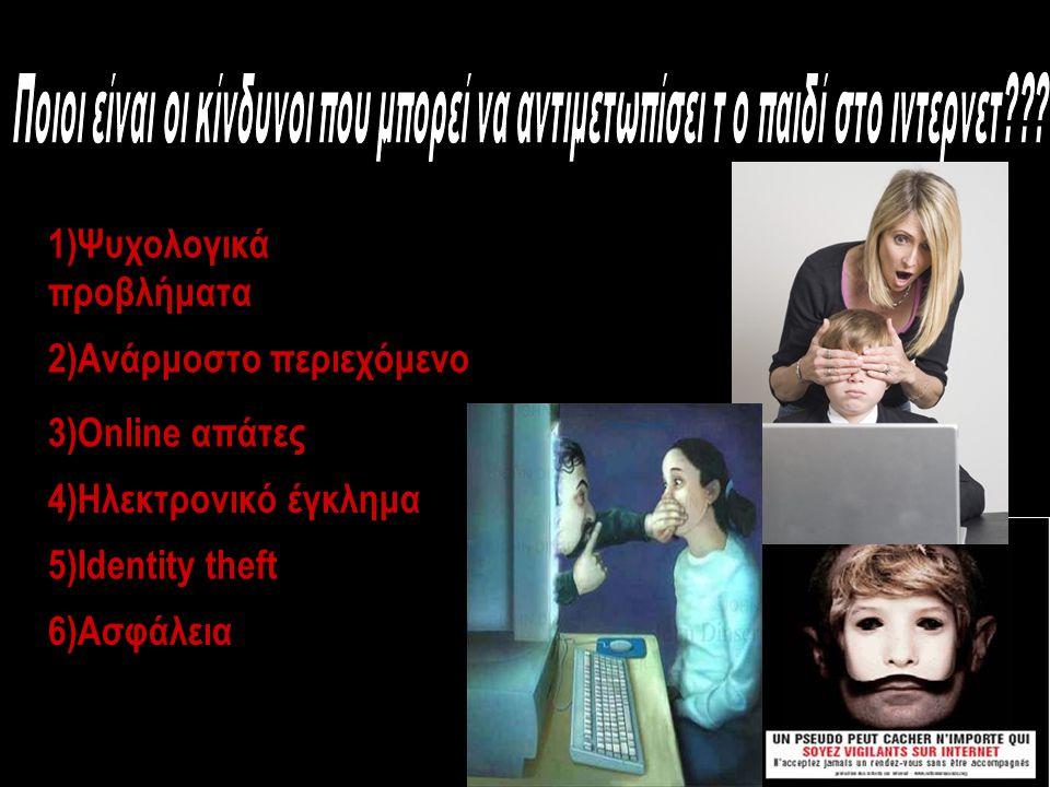 1)Ψυχολογικά προβλήματα 2)Ανάρμοστο περιεχόμενο 3)Online απάτες 4)Ηλεκτρονικό έγκλημα 5)Identity theft 6)Ασφάλεια