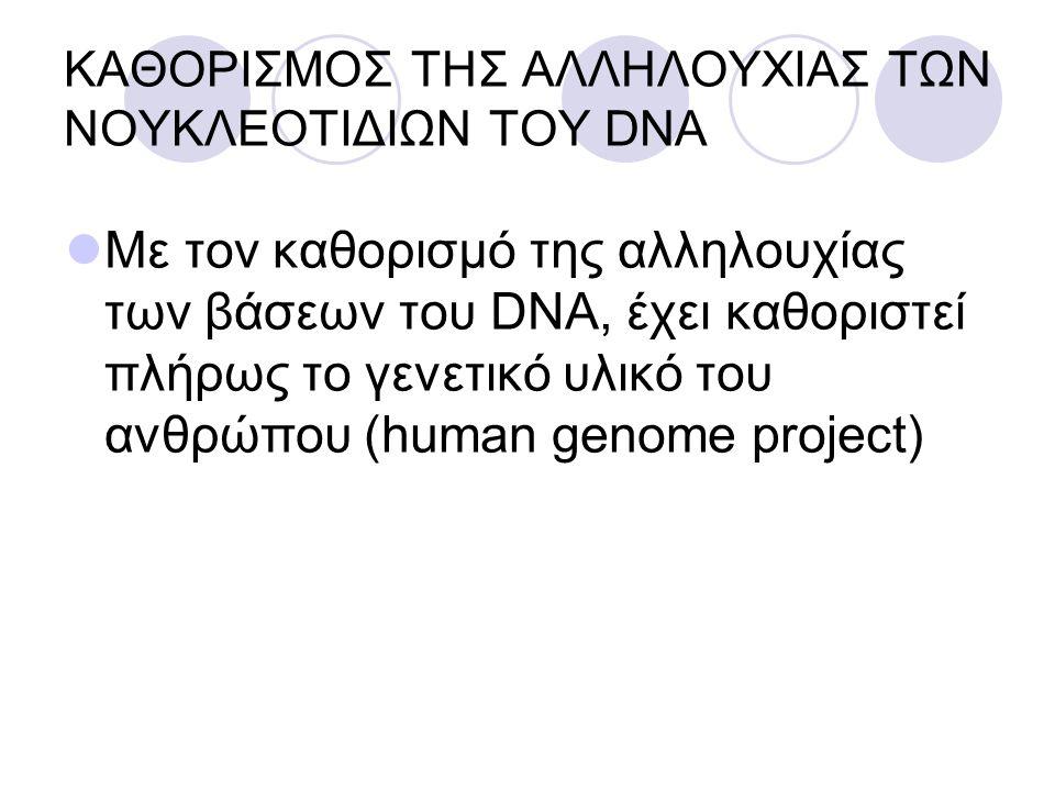 ΚΑΘΟΡΙΣΜΟΣ ΤΗΣ ΑΛΛΗΛΟΥΧΙΑΣ ΤΩΝ ΝΟΥΚΛΕΟΤΙΔΙΩΝ ΤΟΥ DNA Με τον καθορισμό της αλληλουχίας των βάσεων του DNA, έχει καθοριστεί πλήρως το γενετικό υλικό του