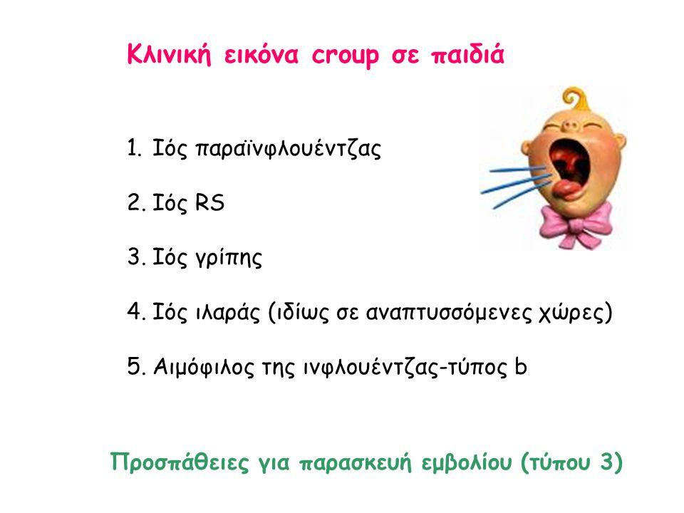 Κλινική εικόνα croup σε παιδιά 1.Ιός παραϊνφλουέντζας 2.Ιός RS 3.Ιός γρίπης 4.Ιός ιλαράς (ιδίως σε αναπτυσσόμενες χώρες) 5.Αιμόφιλος της ινφλουέντζας-