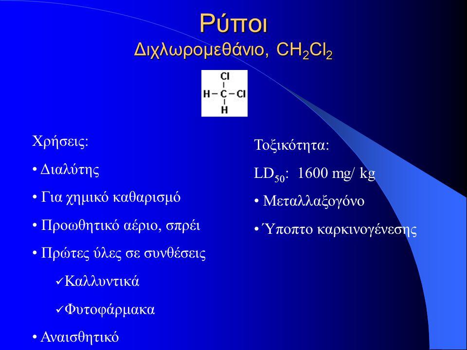 Ρύποι Διχλωρομεθάνιο, CH 2 Cl 2 Χρήσεις: Διαλύτης Για χημικό καθαρισμό Προωθητικό αέριο, σπρέι Πρώτες ύλες σε συνθέσεις Καλλυντικά Φυτοφάρμακα Αναισθη