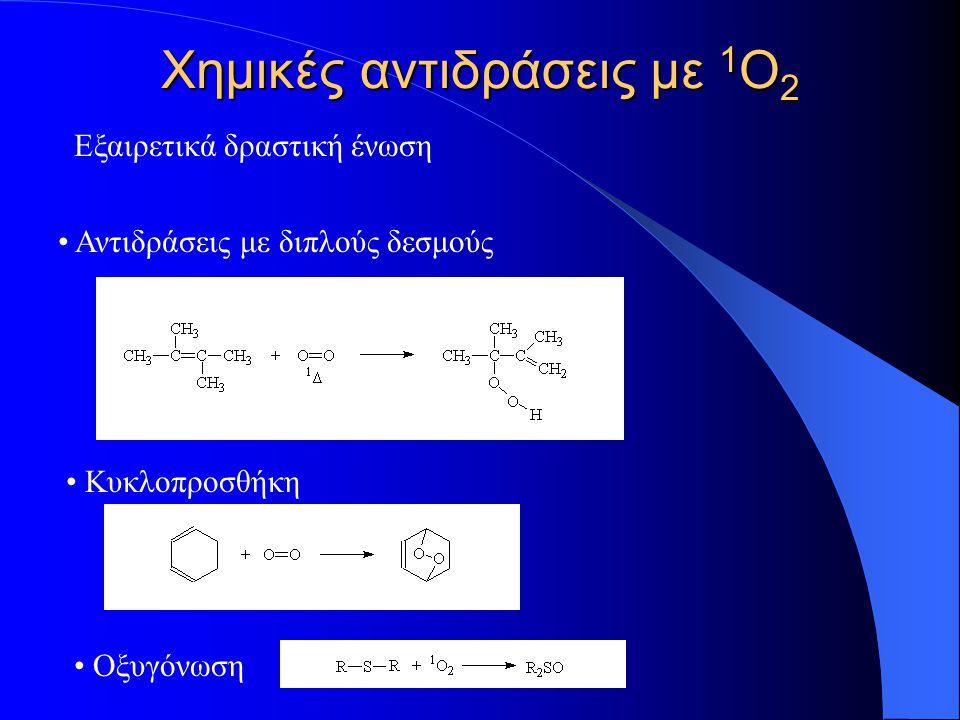 Χημικές αντιδράσεις με 1 Ο 2 Εξαιρετικά δραστική ένωση Αντιδράσεις με διπλούς δεσμούς Κυκλοπροσθήκη Οξυγόνωση